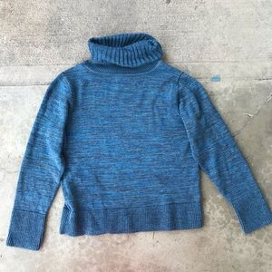 Peruvian Connection Blue Cowl Neck Sweater